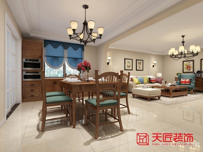 黄海城市花园美式风格装修效果图实景图