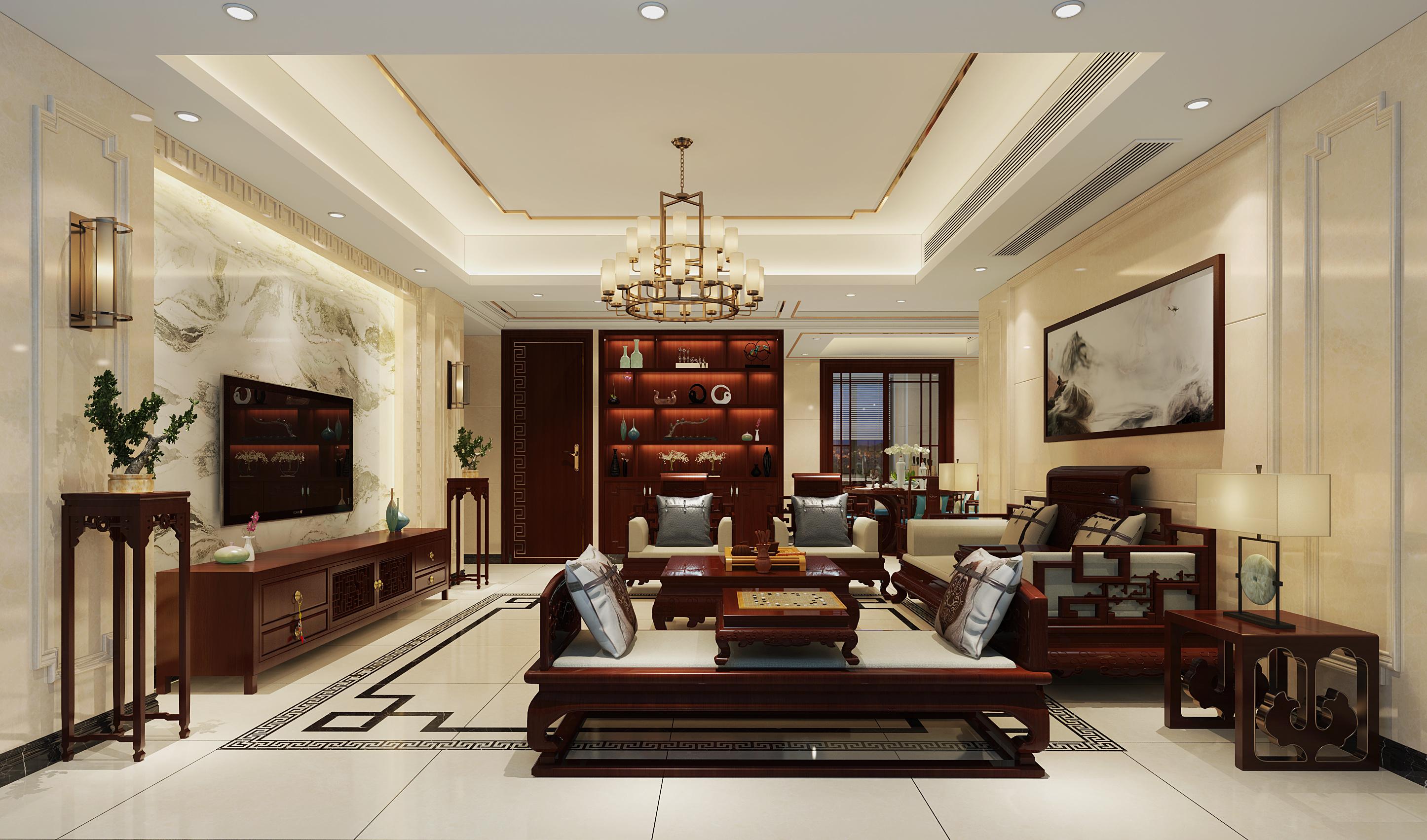 华府豪庭中式风格装修效果图实景图