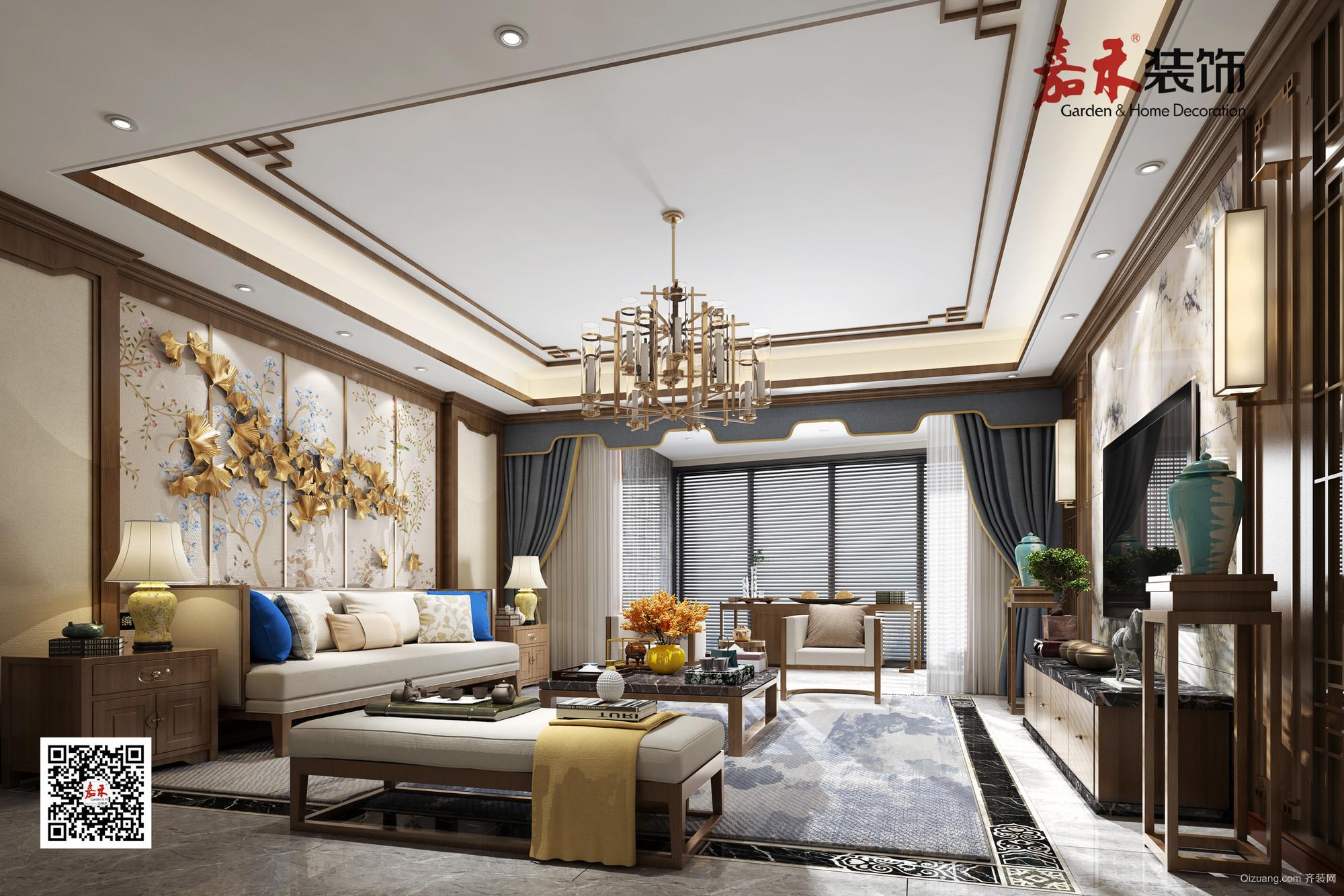 昆仑·东湖1号中式风格装修效果图实景图