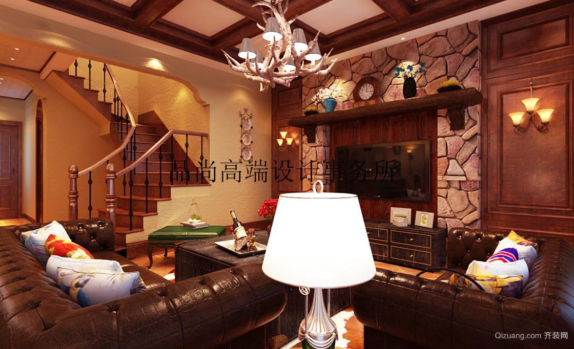 天茂湖三期温莎园美式风格装修效果图实景图