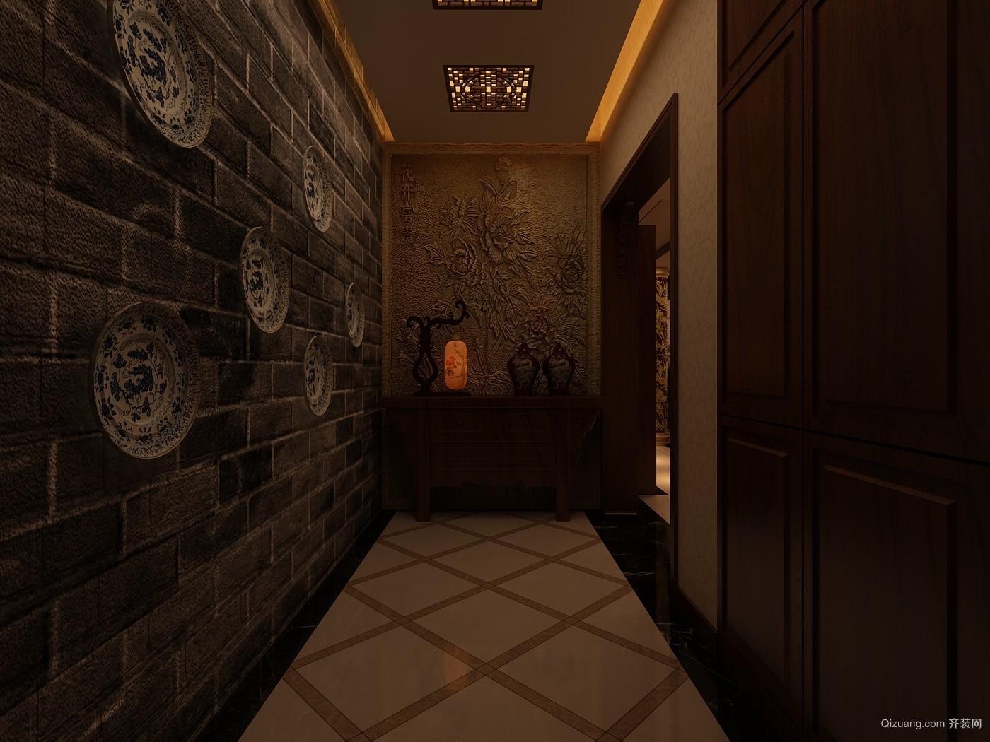 山水泉城中式风格装修效果图实景图