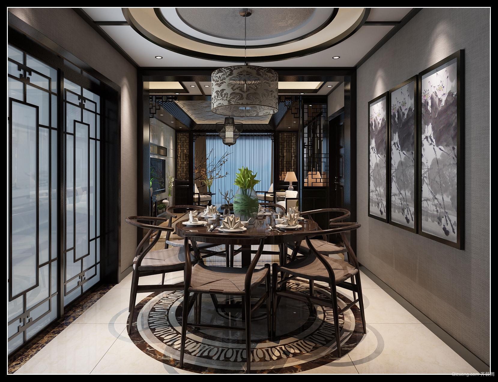 水岸鑫城中式风格装修效果图实景图