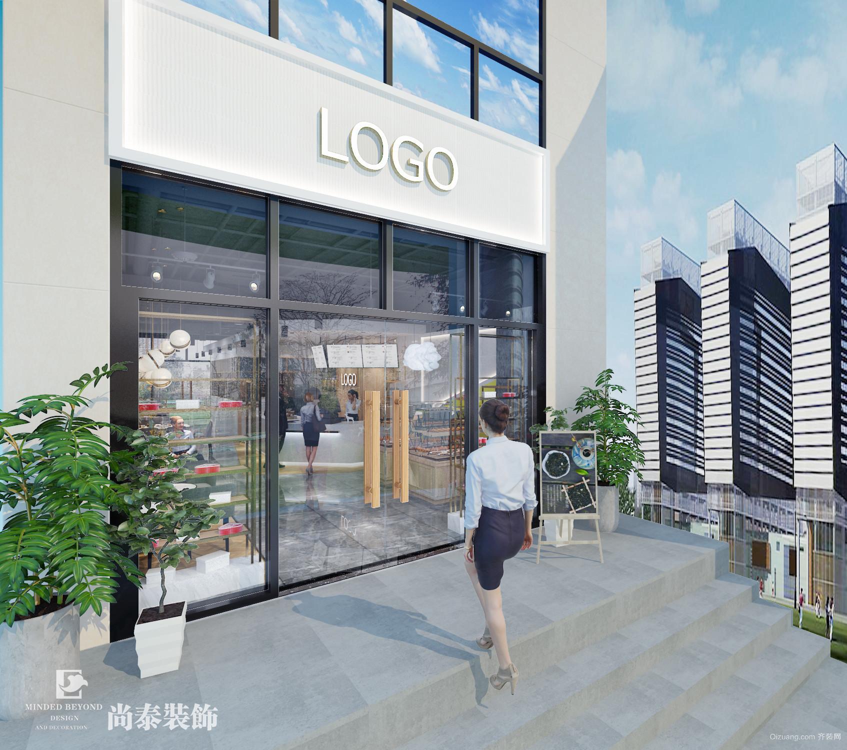 罗湖龙园创展大厦临街商铺现代简约装修效果图实景图