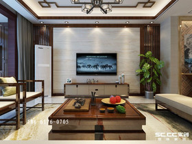 青岛金地悦峰新中式三居170㎡装修,木制线条古典中式美