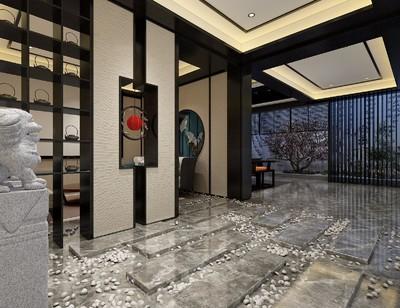 唐山中式客厅玄关装修设计案例
