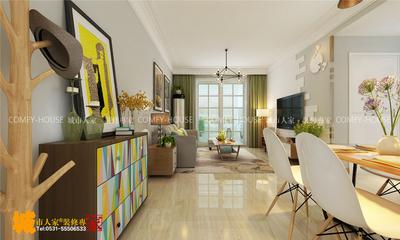 濟南高新新城香溢紫郡兩室兩廳北歐風格裝修效果圖裝修設計案例
