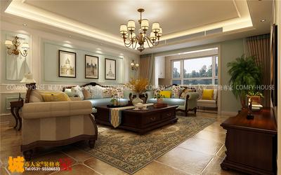 濟南祥泰和院三室兩廳現代美式裝修效果圖裝修設計案例