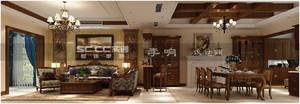 青岛龙湖蓝湖郡 182平美式联排 别墅全案设计