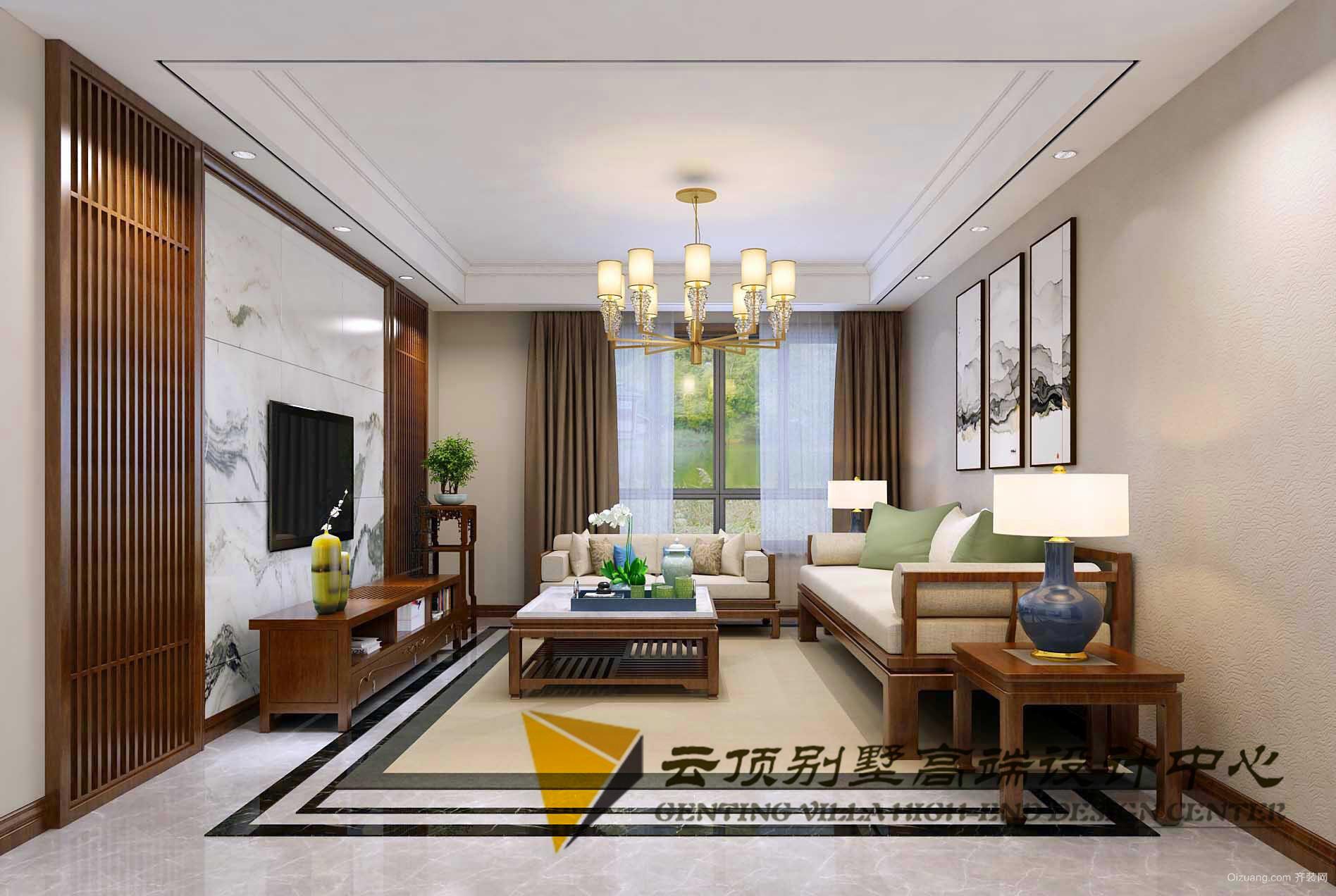 玫瑰园中式风格装修效果图实景图