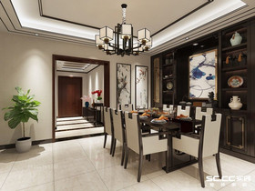 青岛德郡,新中式别墅220㎡新中式装修设计,经典中国红