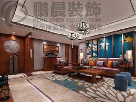 [鹏晨装饰]伟星蔚蓝海岸168平新中式风格装修效果图