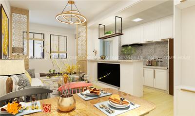 济南济南小户型一室两厅简约混搭风格装修装修设计案例