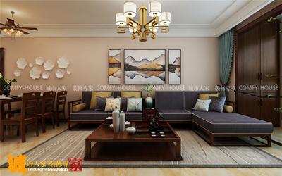 濟南歷城鵲華天禧三室兩廳簡約中式裝修效果圖裝修設計案例