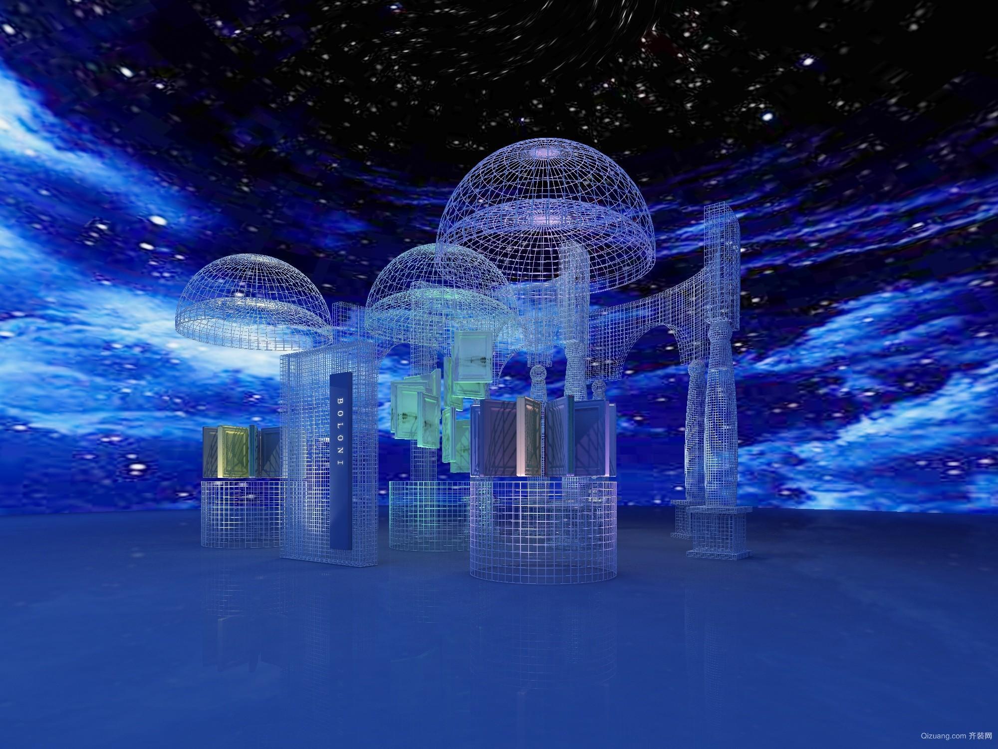 上海展厅现代简约装修效果图实景图