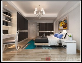 基金大厦-黑白灰-126平方-三居室装修设计案例
