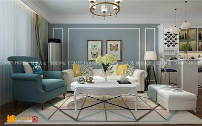 济南巴黎花园两室两厅装修效果图,简美风格装修设计案例