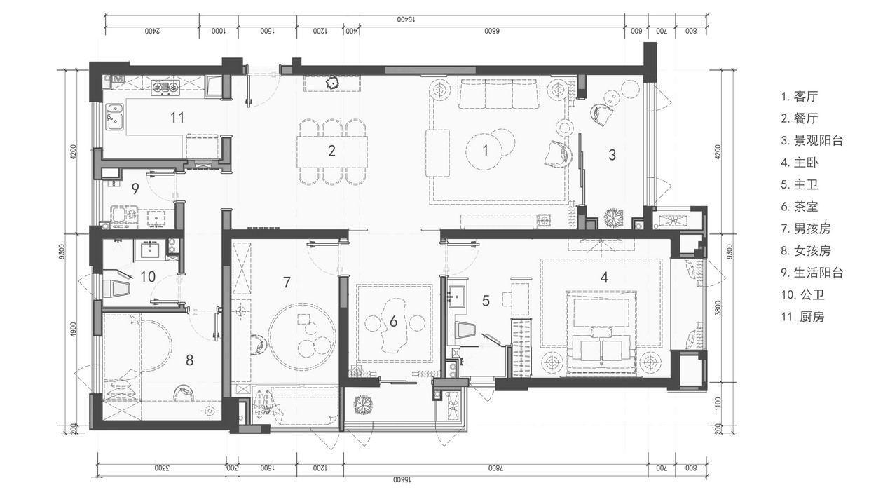 华润凯旋名邸中式风格装修效果图实景图