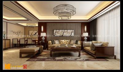 济南财富中心新中式风格装修效果图装修设计案例