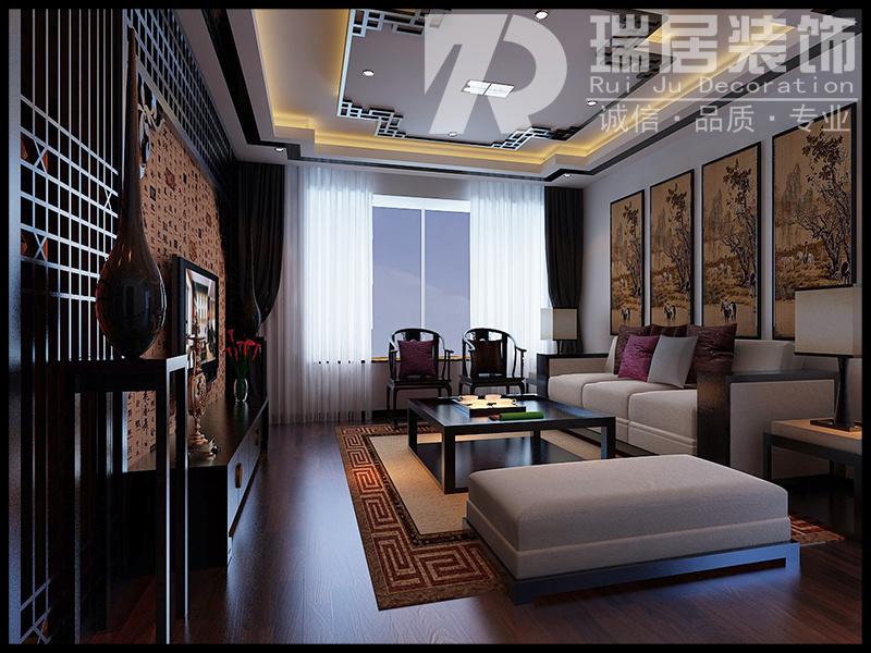 [瑞居装饰]伟星公园天下150平中式风格装修效果图案例中式风格装修效果图实景图
