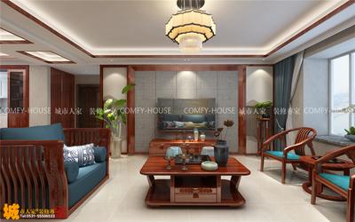 濟南百步亭三室兩廳125平中式風格裝修效果圖裝修設計案例