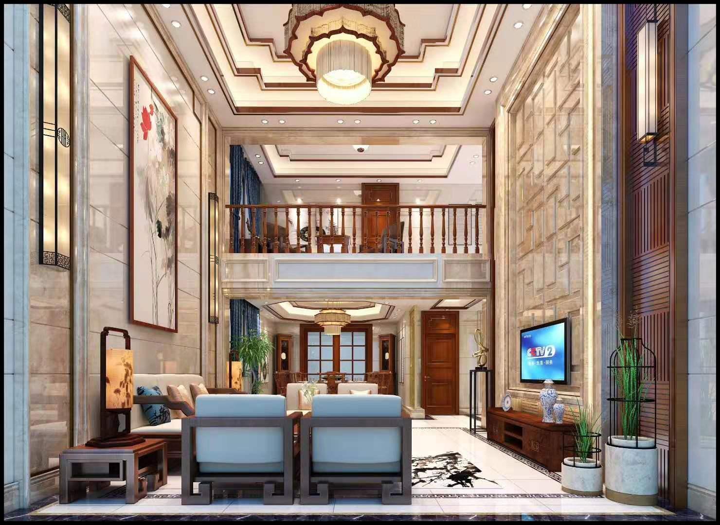 新化别墅中式风格装修效果图实景图
