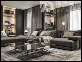 [瑞居装饰]长江之歌97平高级灰风格装修效果图案例