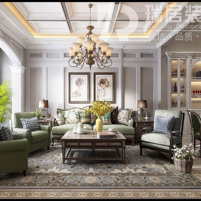 [瑞居装饰]华强颐景湾畔137平美式风格装修案例