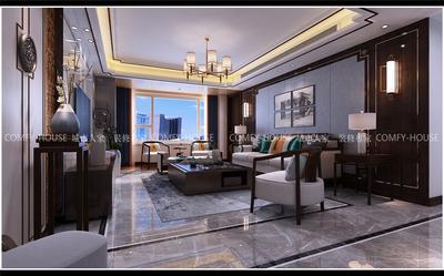 濟南帝華鴻府中式風格三室兩廳裝修效果圖裝修設計案例