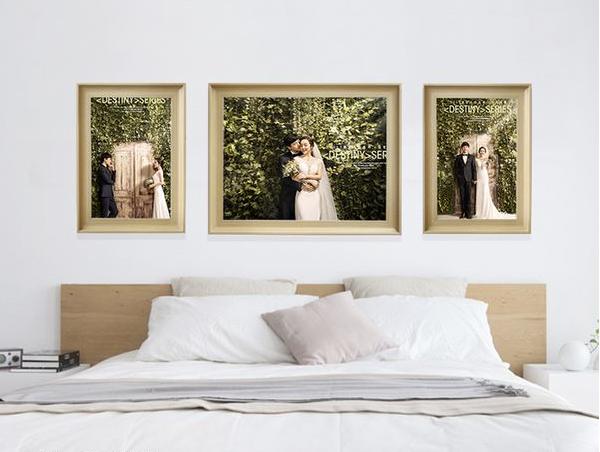 床头婚纱照怎么挂_婚纱照床头挂的照片