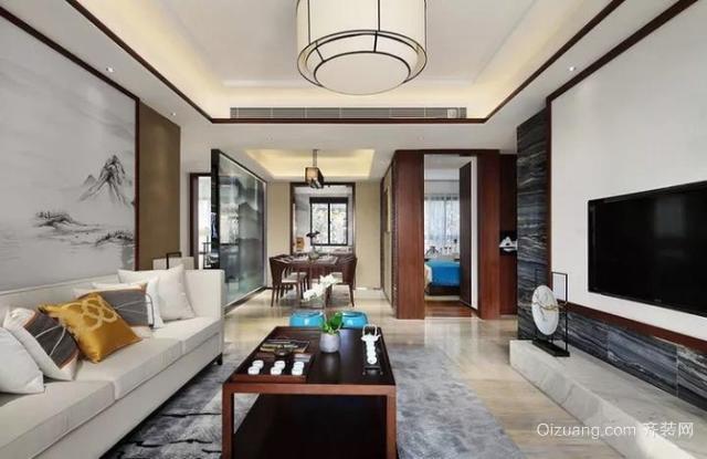 110㎡新中式风格客厅装修设计