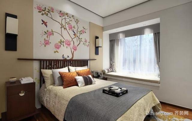 110㎡新中式风格次卧装修设计