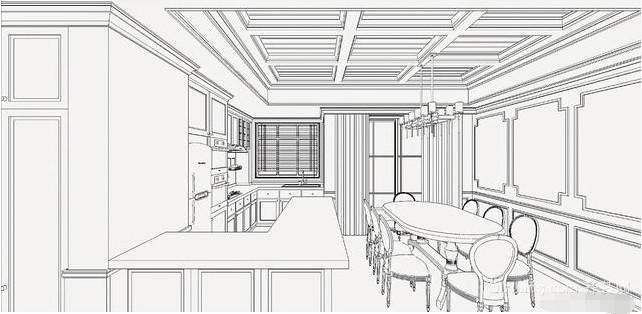 138㎡三室两厅美式风餐厅装修