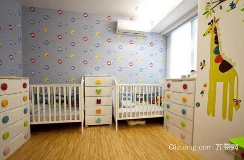 宿州恒大御景湾2室二厅装修双胞胎婴儿房设计