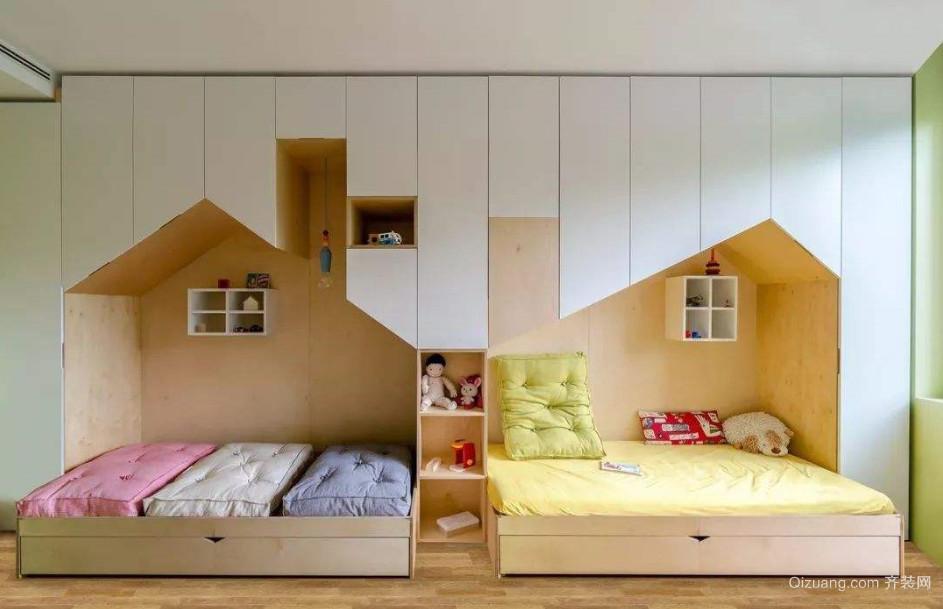 并排做双床儿童房