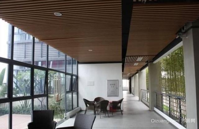 咖啡厅生态木吊顶效果图