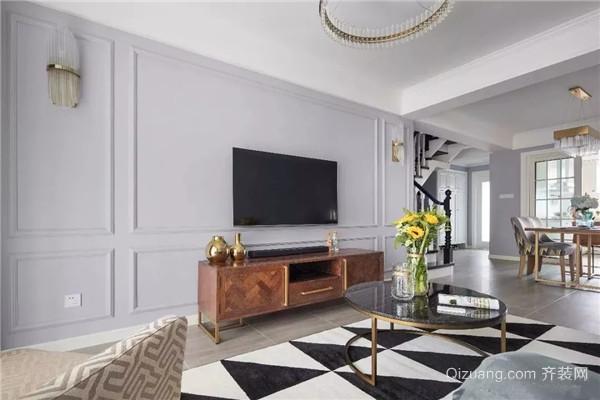法式轻奢电视墙造型效果图