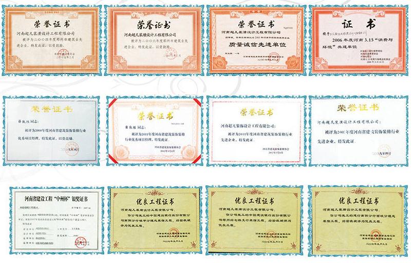 郑州超凡装饰公司荣誉