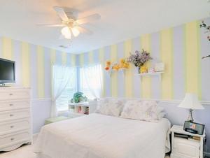 柠檬黄色卧室背景墙装修效果图