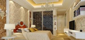 126㎡三居室欧式卧室壁纸装修设计图