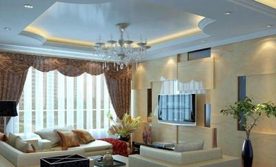 中式简约客厅吊顶装修效果图