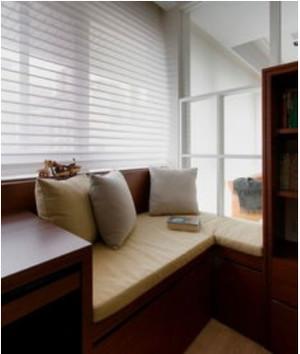 简单清新的家装室内百叶窗帘设计效果图