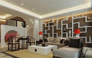 現代簡約風格客廳博古架裝修效果圖