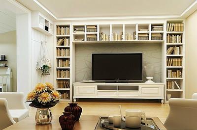 單身公寓簡歐風格客廳電視背景墻裝修效果圖
