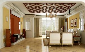 三室一厅新古典客厅吊顶灯效果图