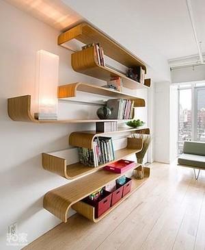 复式楼现代豪华型客厅书柜装修效果图