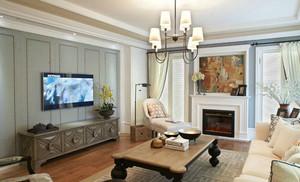 两居室美式乡村风格客厅吊顶电视背景墙设计装修效果图
