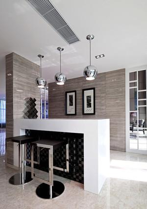 三室一廳浪漫法式風格家庭吧臺設計裝修效果圖