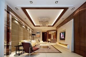 三室二厅错层客厅硅藻泥电视背景墙足彩导航效果图