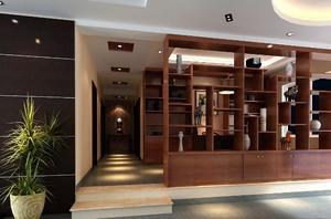 三室二廳現代創意性客廳中式博古架裝修效果圖