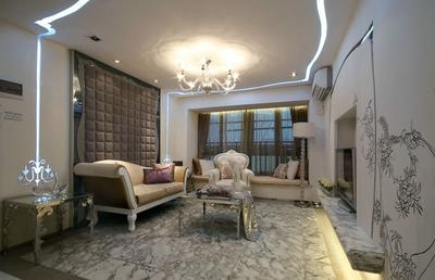 别墅法式风格客厅吊顶装修效果图